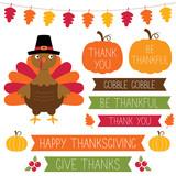 Thanksgiving banners, pumpkin frames and a turkey set