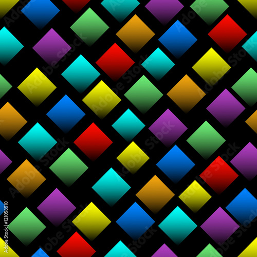 Fototapeta Multicolored squares with gradient on black background. Seamless vector background with 3d effect. Diamond shapes in rainbow colors.