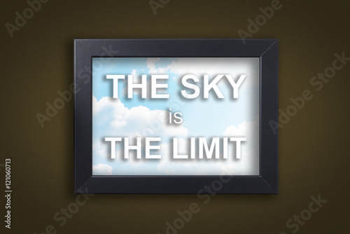 The sky is the Limit in sky photo frame with dark background. Photo by junce11