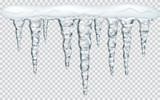 Hanging icicles with snow on transparent background. Transparency only in vector file - 121065172