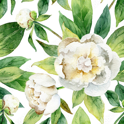 Seamless floral pattern with peonies - 121066395