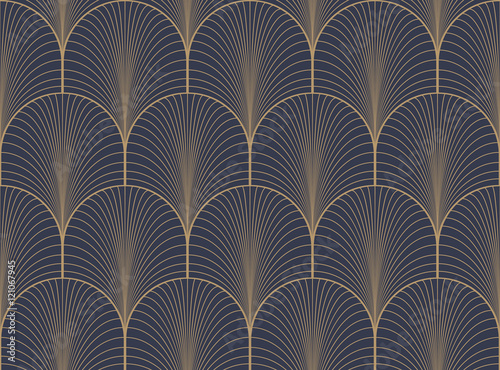 Fototapeta Vintage tan blue and brown seamless art deco wallpaper pattern vector
