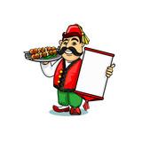 Turkish cook with menu and shashlik