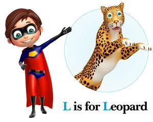 Super boy pointing Leopard