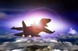 Fighter jet flying facing sunset