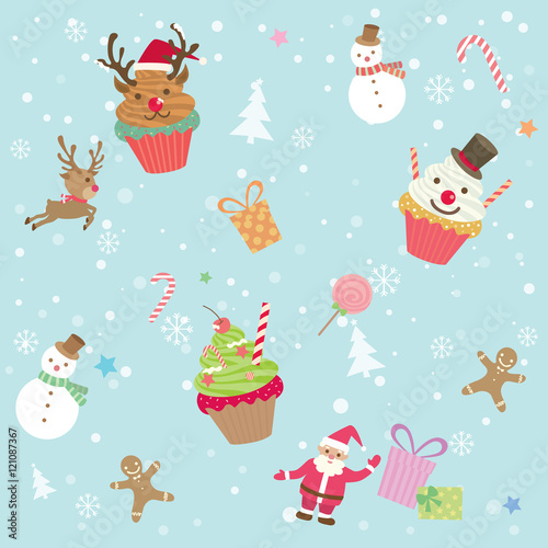 Materiał do szycia Illustration vector of merry christmas ornament element cupcake  party with  snow background decoration into seamless pattern.