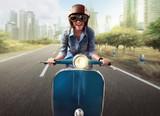 Asian women riding a blue scooter