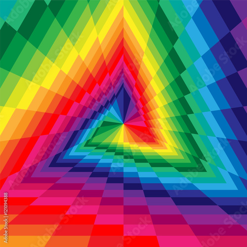 Vector Illustration. Triangle Abyss. Colorful Rectangles Expanding from the Center. Optical Illusion of Volume and Depth. Geometric Abstract Background. Suitable for Web Design. © nofretka