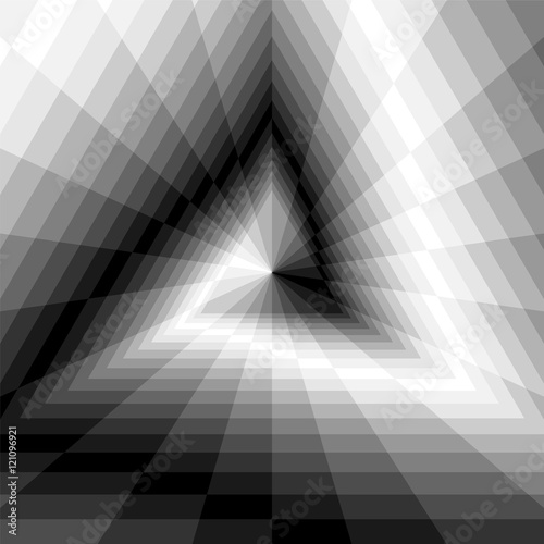 Vector Illustration. Triangle Abyss. Monochrome Rectangles Expanding from the Center. Optical Illusion of Volume and Depth. Geometric Abstract Background. Suitable for Web Design.
