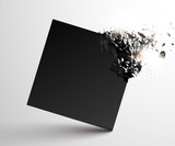 Black square with debris on white background. Abstract black explosion. Geometric background. Vector