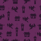 Purple Halloween vector background with ghosts and doodle houses. Seamless pattern.