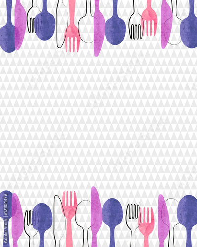 Vector background with watercolor cutlery - spoon, fork and knife. Restaurant menu card design.