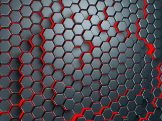 Red dark metallic hexagon pattern background