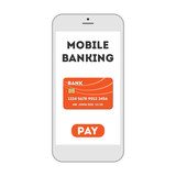 Mobile banking concept. Easy transaction with mobile banking. Credit card in smartphone. Payment through internet.