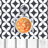 3d illustration rendering of Italian pizza with cutlery and glass