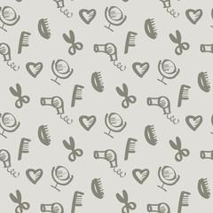sketch beauty style icon seamless pattern. feminine hand drawn s