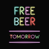 Free beer neon font icon. Text typography decoration and advertising theme. Colorful design. Vector illustration