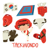 taekwondo kids. cute sport equipment set. korean sports.