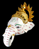 White Ganesha Thailand Khon mask head with Black isolated background