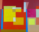 An abstract painting; floating rectangles on a geometric background.