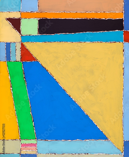 An abstract painting; brightly colored and geometric - 121127133