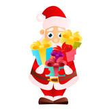 Santa Claus with gift isolated on white background. Vector illustration