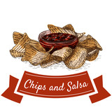 Chips and salsa illustration.