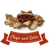 Chips and salsa illustration.