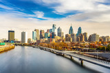 Panoramic picture of Philadelphia skyline and Schuylkill river, PA, USA. - 121133397