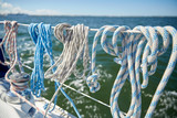 close up of mooring rope on sailboat or yacht