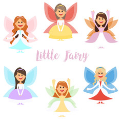 Little fairy girls whith wings and in ball dresses. . Vector illustration