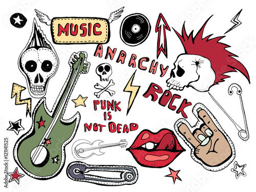 Cute Embroidery Patches And Stickers Collection Punk Is Not Dead