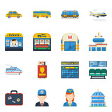Passenger Transportation Flat Icons
