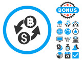 Dollar Baht Exchange icon with bonus elements. Vector illustration style is flat iconic bicolor symbols, blue and gray colors, white background.