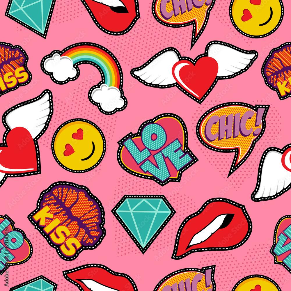 papiers peints pink pop art stitch patch seamless pattern. Black Bedroom Furniture Sets. Home Design Ideas