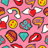 Pink pop art stitch patch seamless pattern