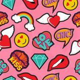 Pink pop art stitch patch seamless pattern - 121149151