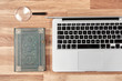 search symbolic with book and notebook on wooden office table