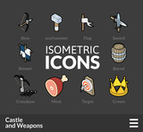 Isometric outline icons set 54