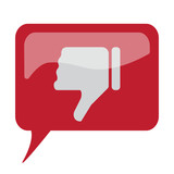 Red speech bubble with white Thumb Down icon on white background