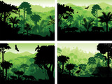Fototapety set of vector rainforest animals silhouettes in sunset design templates