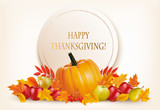 Happy Thanksgiving background with colorful autumn leaves and fr