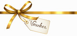 golden bow with label - voucher  - 121175909
