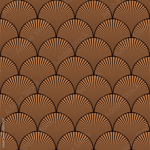 Seamless chocolate brown japanese art deco floral waves pattern vector