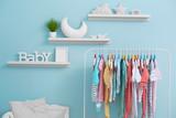 Fototapety Shelves with hanger in modern baby room