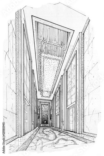 sketch interior perspective lift hall, black and white interior design. © last19