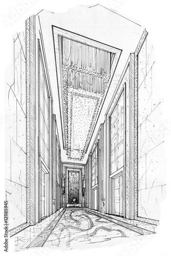 sketch interior perspective lift hall, black and white interior design. © last19