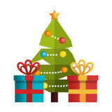 tree and box gift merry christmas design vector illustration eps 10