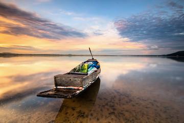 Fishing boat at fisherman village during Sunrise