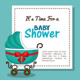 baby shower invitation card with carriage blue design vector illustration eps 10
